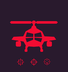 combat helicopter sign vector image