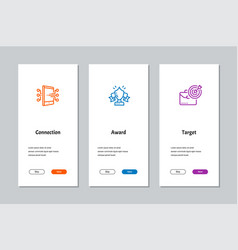 Connection award target onboarding screens vector