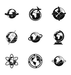 cosmic icons set simple style vector image