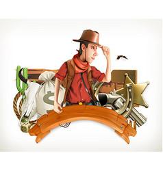 Cowboy Adventure Western retro style Game logo 3d vector image