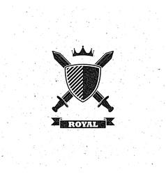 Crossing swords shield and crown label vector
