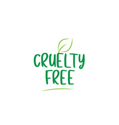 Cruelty free green word text with leaf icon logo vector