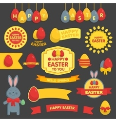 cute easter set labels ribbons and other vector image