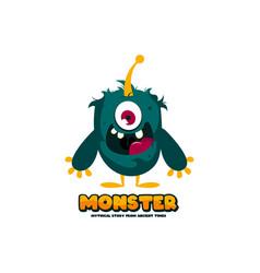 cute monster logo template funny monster logo vector image
