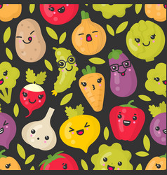 Cute smiling vegetables seamless pattern vector