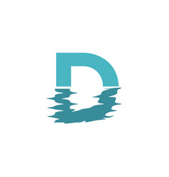 D letter initial logo with water effect vector