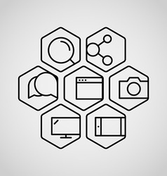 Different lineart icons set vector