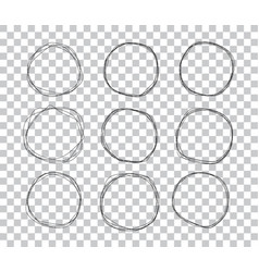 doodle sketched circles hand drawn scribble rings vector image