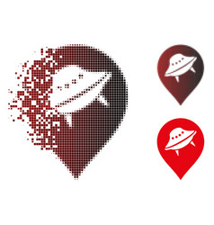 Dust pixel halftone ufo place marker icon vector