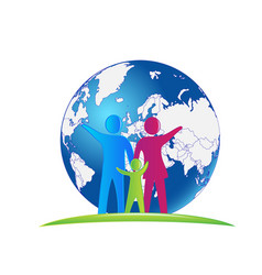 family people and earth nature logo vector image