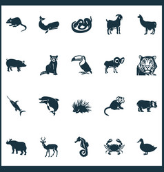 Fauna icons set with goat duck impala and other vector