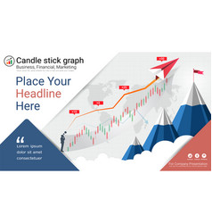 Financial and candlestick graph charts vector