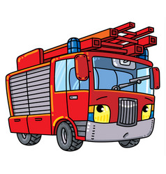 Fire truck or firemachine with eyes vector