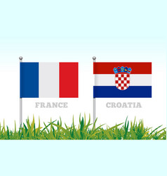 flags of france and croatia against the backdrop vector image