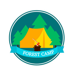 Flat forest camping round logo template vector