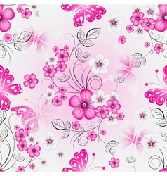 Floral effortless spring pattern with flowers vector