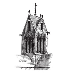 Gable tower in france upper end vintage engraving vector