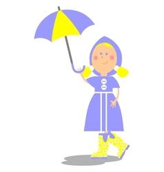 Girl walking with umbrella 20 vector image