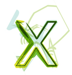 Green letter X vector image