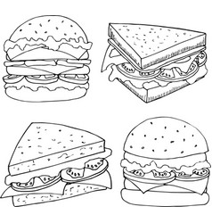 Hand drawn of fastfood vector