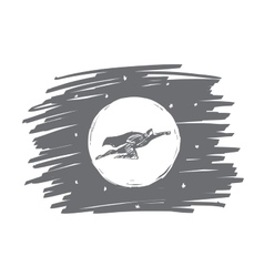 Hand drawn superhero flying in front of the Moon vector