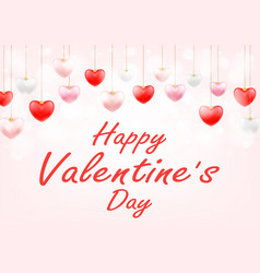 happy valentines day with hanging love heart vector image