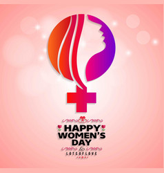 happy womens day typographic design with light vector image