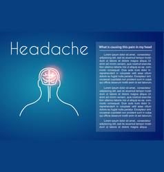 Headache linear with brain vector