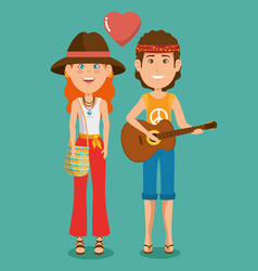 Hippie people cartoon vector