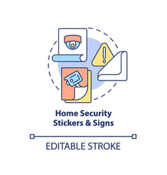 Home security stickers and signs concept icon vector