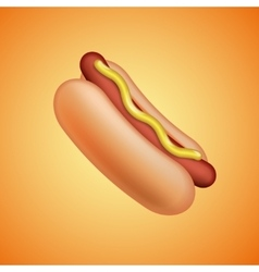 Hot Dog with mustard emoticon symbol vector image