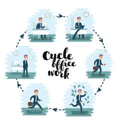 Ilustration cartoon office worker man character vector