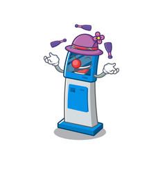 Juggling digital information cartoon kiosk next to vector