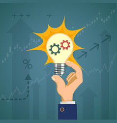 light bulb with gears in the hand of a businessman vector image