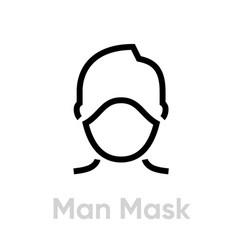 Man protection mask respirator icon editable line vector