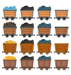 Mining carts loaded with stone and gold vector
