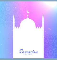Mosque silhouette with text space for ramadan vector