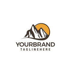 mountain sun logo design concept template vector image