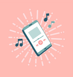 online music player with note music playing vector image
