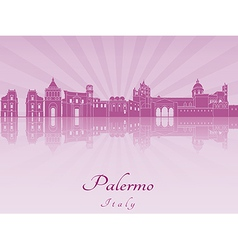 Palermo skyline in purple radiant orchid vector image