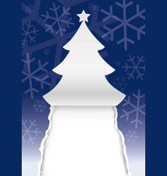 Paper christmas tree greeting card background vector