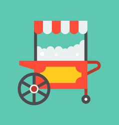Popcorn cart icon amusement park related flat vector