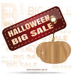 price sale tag for halloween gold pumpkin vector image