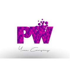 Pw p w dots letter logo with purple bubbles vector