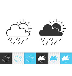 Rain and sun simple black line icon vector