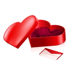 Red box in heart shape vector image