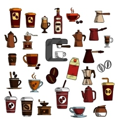 Retro sketched coffee cups and pots symbols vector