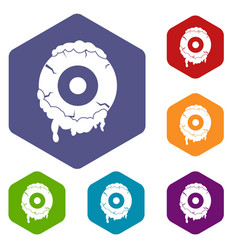 Scary eyeball icons set hexagon vector