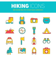 set hiking thin lined flat icons vector image
