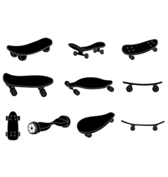 Set of black and white skateboards vector